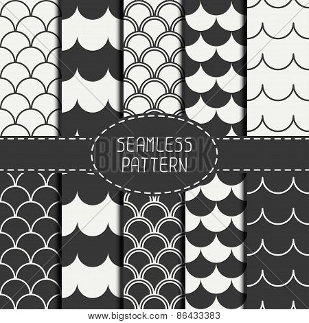 Set of seamless retro vintage marine geometric line pattern. Tiling. Collection of packaging paper.