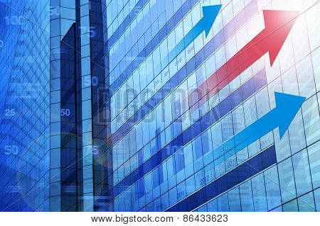 Red Arrow Head With Financial Chart And Graphs On City Background