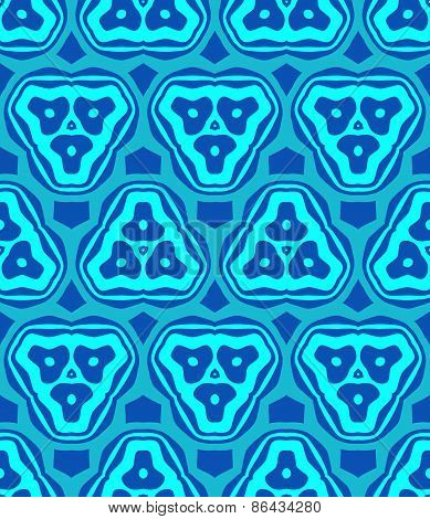 Psychedelic Abstract Colorful Blue Cyan Seamless Pattern.
