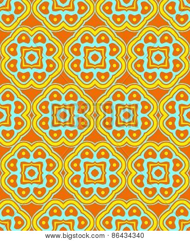 Psychedelic Abstract Colorful Orange Yellow Cyan Seamless Pattern.