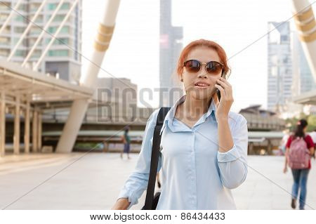 Hipster Worker Women Style Walking And Call Phone Mobile In Urban Background Modern Life Concept