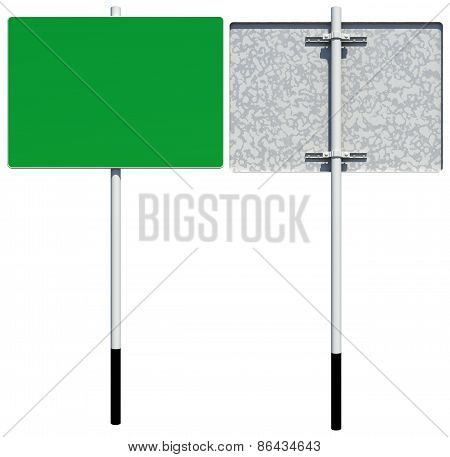 Rectangle green road sign. Front and back view. Isolated