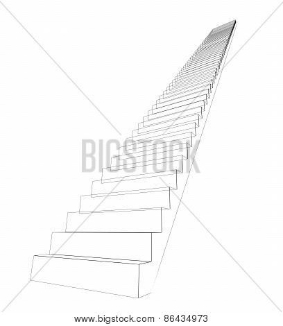 Wire-frame stairs leading up. Isolated