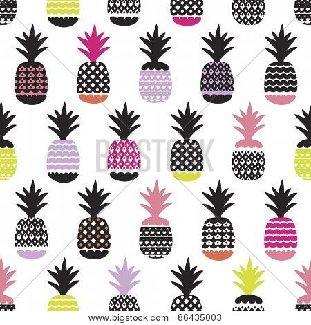 Seamless pineapple retro summer bikini beach theme fruit hot trendy illustration background pattern in vector
