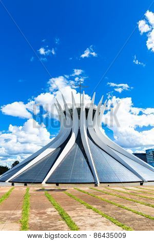 BRASILIA, BRAZIL - CIRCA MARCH 2015: Cathedral of Brasilia, Brazil. It was designed by Oscar Niemeyer, and was completed and dedicated on May 31, 1970.