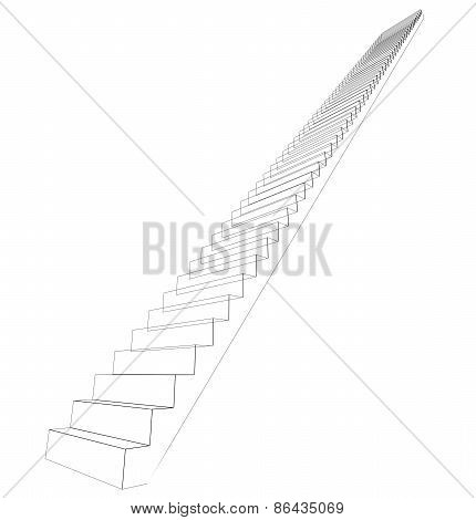 Wire-frame stairs. Perspective view. Isolated