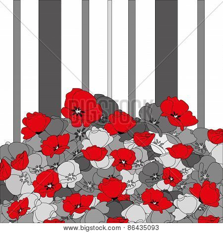 seamless poppies and stripes