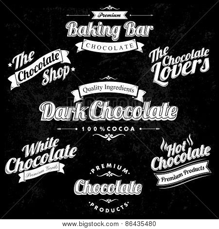 Premium Retro Chocolate Vintage And Label Set On Chalkboard