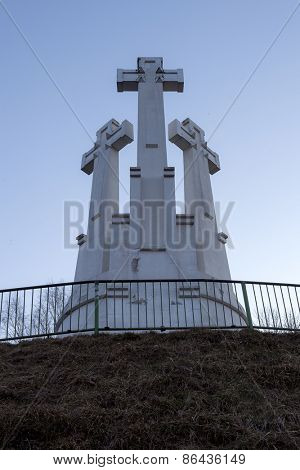 VILNIUS, LITHUANIA -March 19, 2015: Monument of Three Crosses on the Bleak Hill at the dawn time. It is one of main landmarks of Lithuania Capital city.