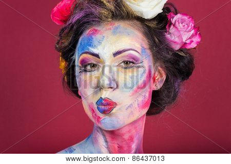 The creative, bright, color makeup. Floral makeup