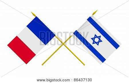 Flags, France And Israel