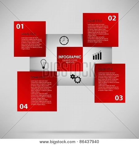 Abstract Info Graphic With Red Squares