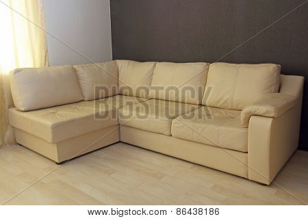 Beige Corner Leather Sofa .