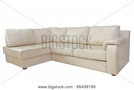 Beige Leather Corner Sofa.isolated.