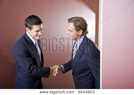Businessmen Wearing Suits Shaking Hands