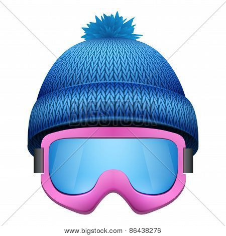 Knitted woolen cap with snow goggles. Winter seasonal sport hat.