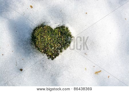 Snow Melting In The Shape Of A Heart