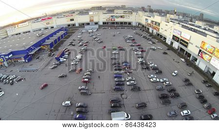 MOSCOW, RUSSIA - MAR 09, 2014: Aerial view of the Zolotoy vavilon and parking in city at spring.