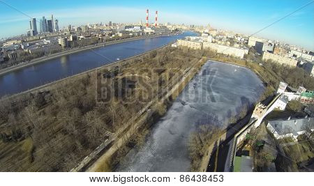 MOSCOW, RUSSIA - MAR 23, 2014: Aerial view of Moscow river near the Novodevichy Convent.