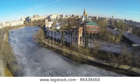 MOSCOW, RUSSIA - MAR 23, 2014: Aerial view of the Novodevichy Convent with pond in Moscow.
