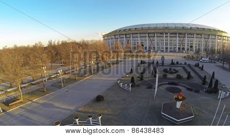 MOSCOW, RUSSIA - FEB 26, 2014: Landscape in front of the sport stadium Luzhniki. Aerial view.