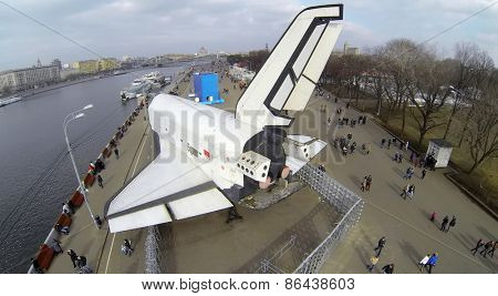 MOSCOW, RUSSIA - MAR 08, 2014: Aerial view of Buran space shuttle in the Gorky Park.