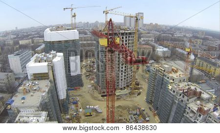 MOSCOW, RUSSIA - MAR 02, 2014: Aerial view of new high buildings at Vinogradnyi residential at Vinogradnyi complex.