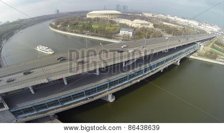 MOSCOW, RUSSIA - FEB 26, 2014: Aerial view of the cars embankment during river.