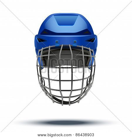 Classic blue Goalkeeper Hockey Helmet isolated on Background.
