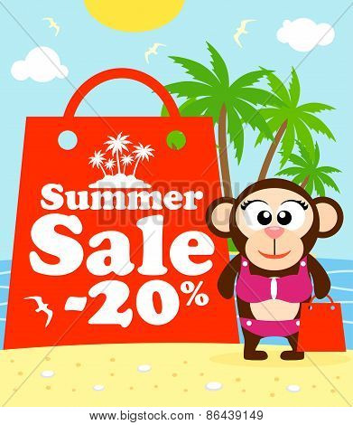 Summer Sale Poster With Monkey