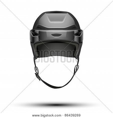 Classic black Hockey Helmet isolated on Background.