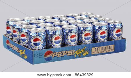 KUALA LUMPUR, MALAYSIA - March 26th 2015. Cans of Pepsi drinks. Pepsi is a carbonated soft drink produced and manufactured by PepsiCo Inc. an American multinational food and beverage company