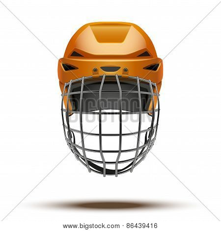 Classic orange Goalkeeper Hockey Helmet isolated on Background.