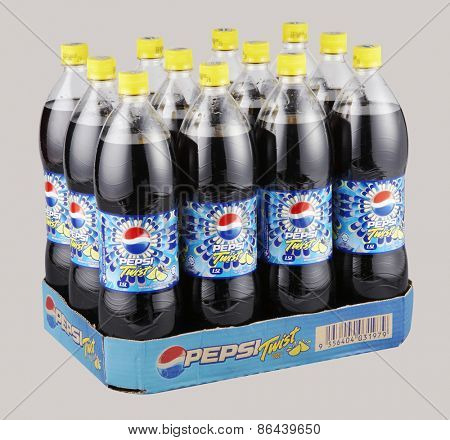 KUALA LUMPUR, MALAYSIA - March 26th 2015. bottles of Pepsi drinks. Pepsi is a carbonated soft drink produced and manufactured by PepsiCo Inc. an American multinational food and beverage company