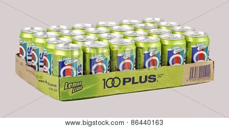 Kuala Lumpur, MALAYSIA -March 26, 2015: Can of 100PLUS isolated on white. 100PLUS was launched in Malaysia in 1983