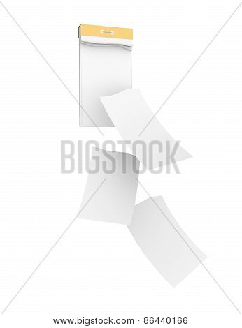 White empty tear-off calendar with three detached sheets. Isolated