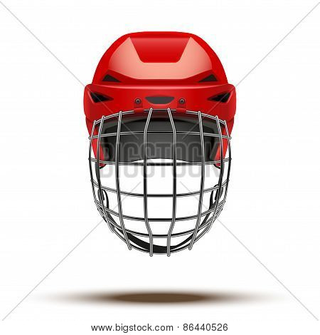 Classic red Goalkeeper Hockey Helmet isolated on Background.
