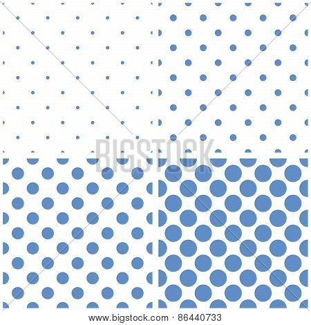 Tile vector pattern set with blue polka dots on white background
