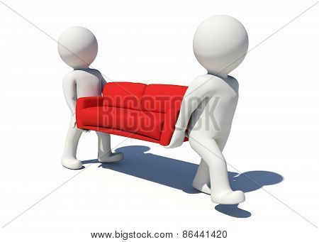 Two white people carrying red sofa. Isolated