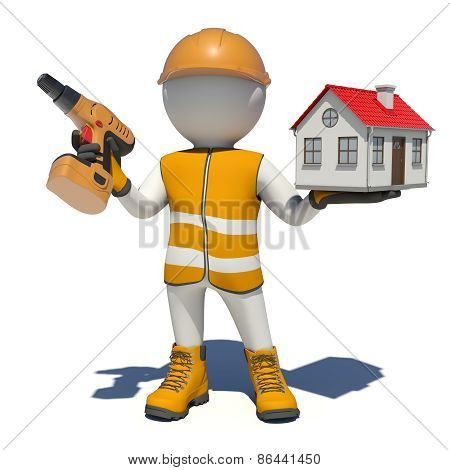 Worker in overalls holding screwdriver and small house. Isolated
