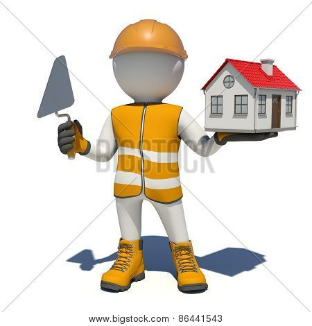 Worker in overalls holding trowel and small house. Isolated