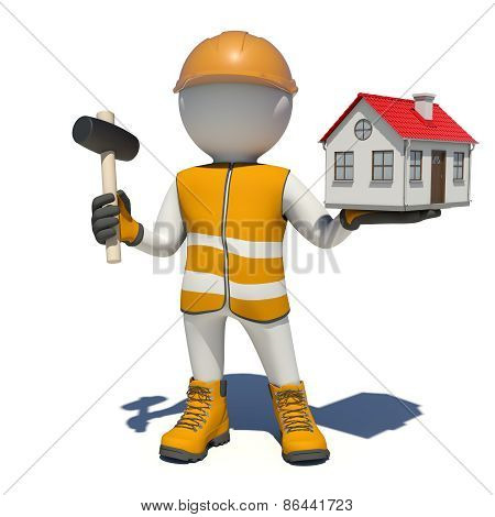 Worker in overalls holding hammer and small house. Isolated