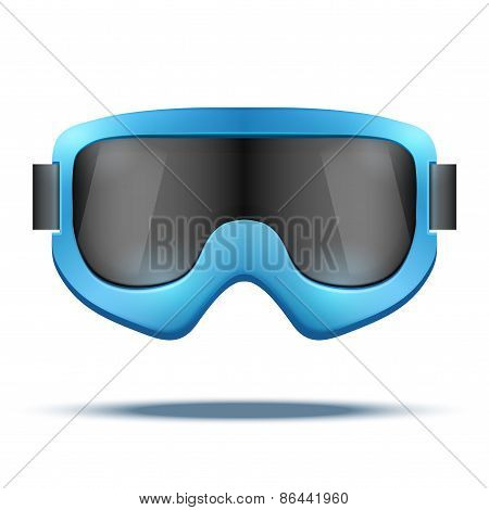 Classic vintage old school blue snowboard ski goggles with black glass.