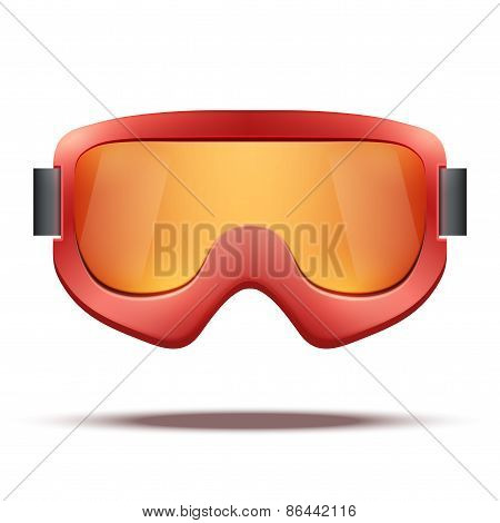 Classic vintage old school red snowboard ski goggles with black glass.