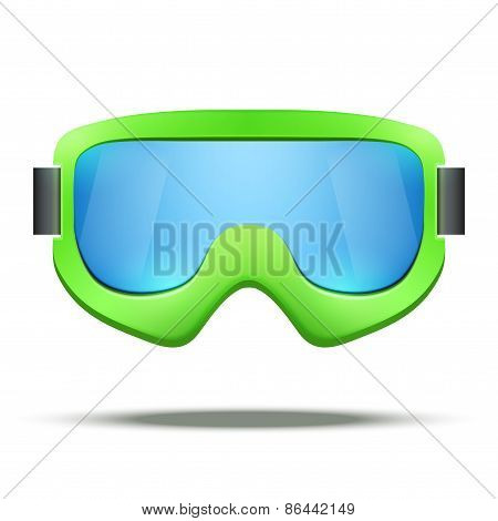 Classic vintage old school green snowboard ski goggles with colorful glass.