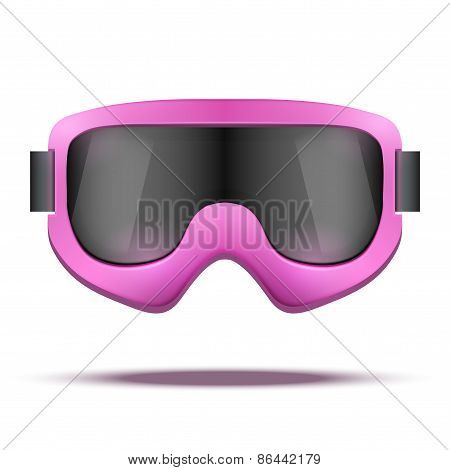 Classic vintage old school pink snowboard ski goggles with black glass.