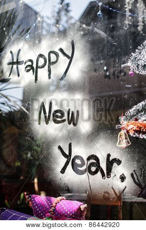 Happy New Year Letter On Glass, Focus On Wordng Of New