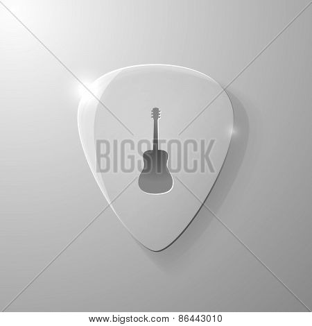 Guitar silhouette on a glass mediator background