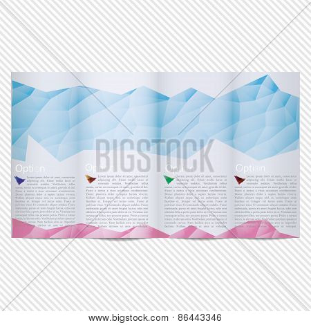 Template light vector design for trifold brochure with blue polygonal grid, place for photos, colorf