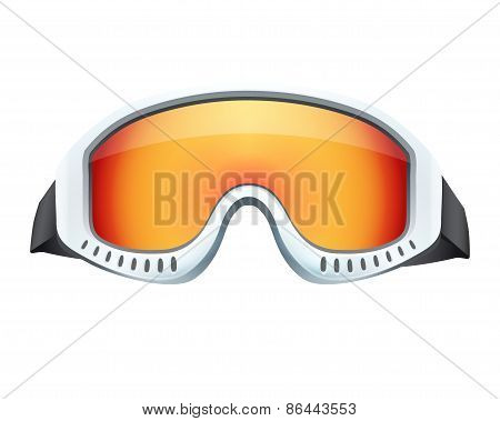Classic snowboard ski goggles with colorful glass.